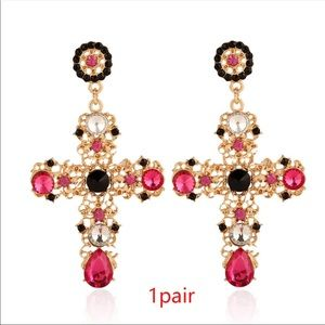 Gorgeous crucifix goldtone earrings with CZ detail